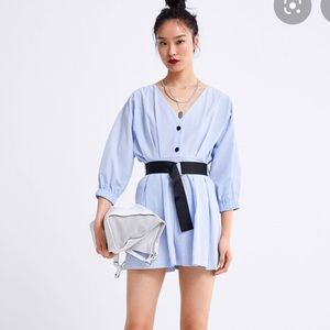 Zara Light Blue Poplin Playsuit M NWT